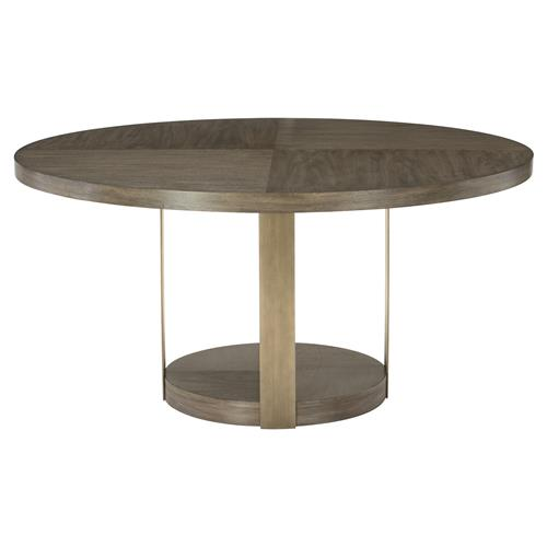 Portia Hollywood Regency Walnut Veneer Gold Steel Round Dining Table | Kathy Kuo Home