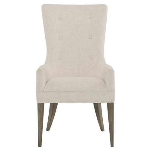 Portia Hollywood Regency Warm Wood White Upholstered Dining Arm Chair | Kathy Kuo Home