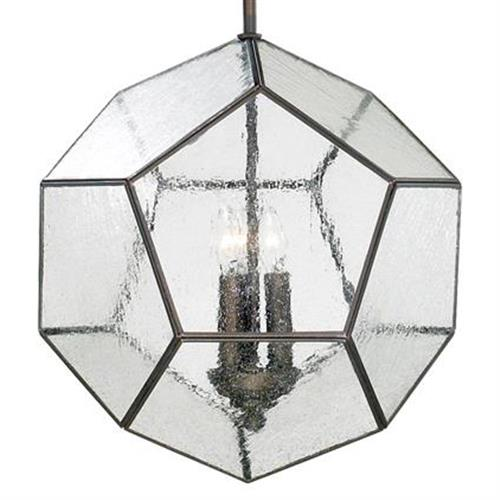 Antique Bronze Modern Seeded Glass Pentagon Pendant Light Fixture | Kathy Kuo Home