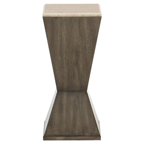 Portia Hollywood Regency Travertine Stop Top Walnut Side End Table | Kathy Kuo Home