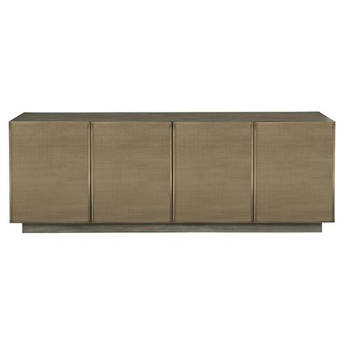Portia Hollywood Regency Walnut Stainless Steel Inset Mesh 4 Door Media Cabinet | Kathy Kuo Home