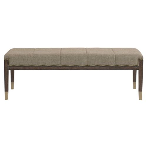 Clarke Mid Century Vertical Channel Upholstered Nailhead Trim Bench | Kathy Kuo Home