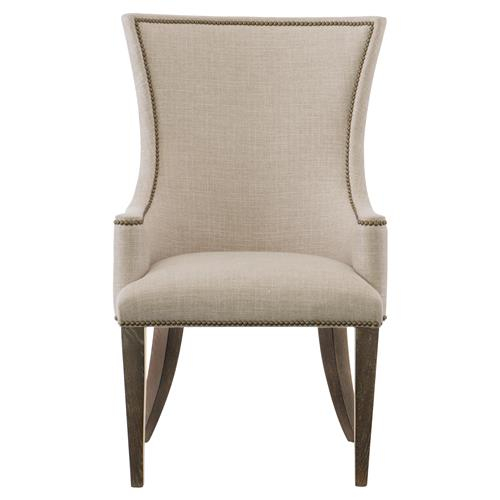 Clarke Modern Classic Beige Upholstered Nailhead Trim Dining Arm Chair | Kathy Kuo Home