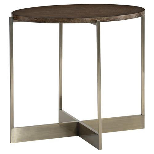 Clarke Modern Classic Burnished Brass X Shape Oval Side End Table | Kathy Kuo Home