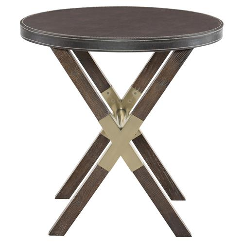 Clarke Modern Classic Burnished Brass Wooden Round Side End Table | Kathy Kuo Home