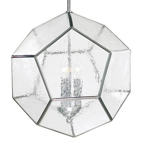 Polished Silver Modern Seeded Glass Pentagon Pendant Light Fixture | Kathy Kuo Home