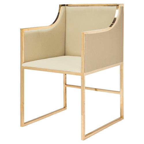 Anastasia Hollywood Regency Gold Beige Dining Occasional Arm Chair | Kathy Kuo Home