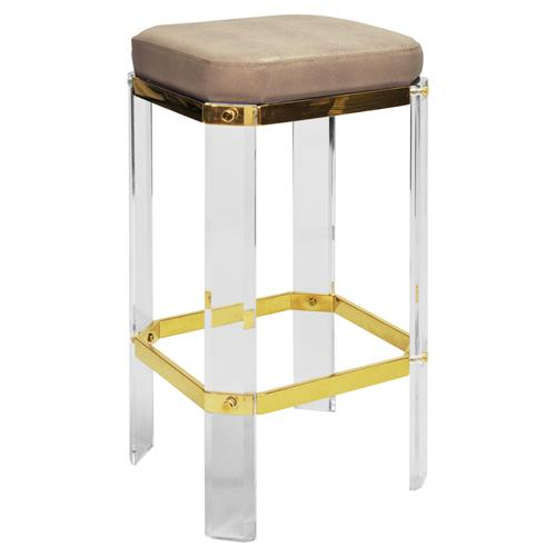 Lorre Modern Regency Beige Shagreen Cushioned Acrylic Gold Counter Stool | Kathy Kuo Home