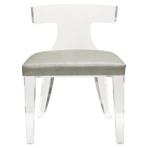 Maxine Modern Classic Grey Faux Shagreen Acrylic Klismos Side Chair | Kathy Kuo Home