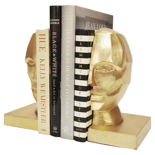 Orwell Modern Regency Gold Profile Bust Bookends | Kathy Kuo Home