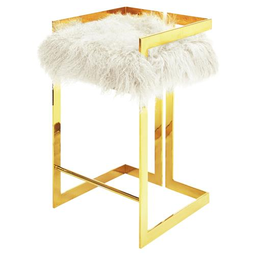 Quentin Hollywood Regency White Mongolian Fur Gold Bar Stool | Kathy Kuo Home