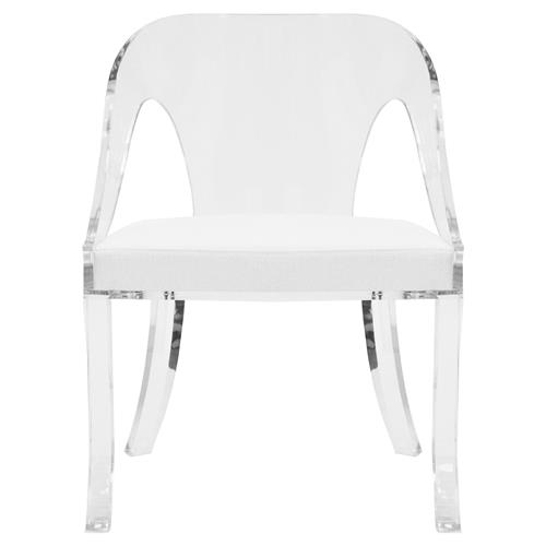 Xena Modern Classic Clear Acrylic White Linen Cushioned Side Dining Chair | Kathy Kuo Home