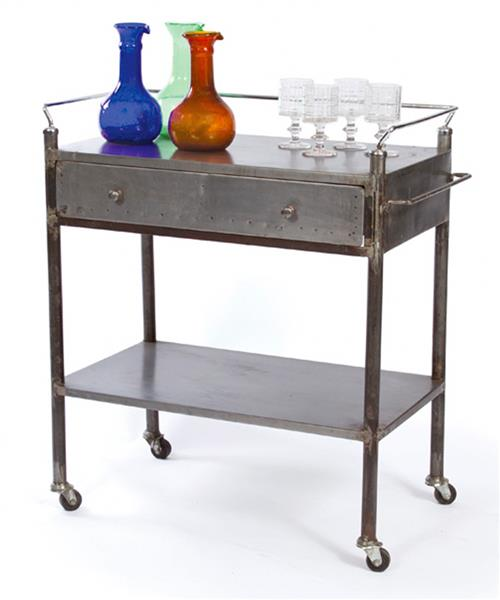 Industrial Vintage Steel Trolley Bar Cart | Kathy Kuo Home