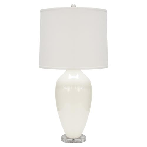 Hinton Modern Classic White Urn Linen Shade Table Lamp | Kathy Kuo Home
