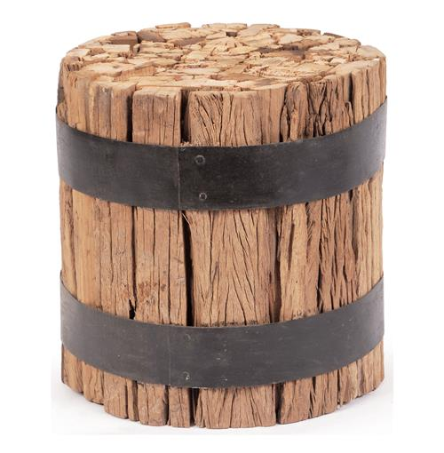 Lodge Cabin Rustic Reclaimed Wood Barrel Stool End Table | Kathy Kuo Home