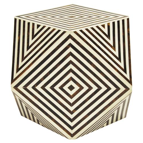 Orna Modern Classic Brown and White Geometric Bone Side Table | Kathy Kuo Home