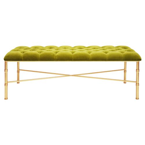 Price Hollywood Regency Tufted Lime Green Velvet Gold Bamboo Bench | Kathy Kuo Home