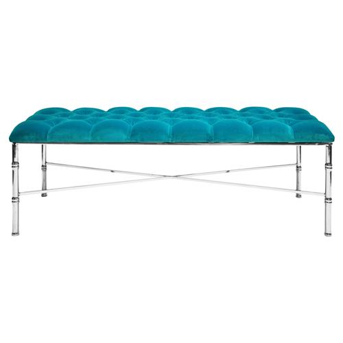 Price Hollywood Regency Tufted Turquoise Velvet Silver Bamboo Bench | Kathy Kuo Home
