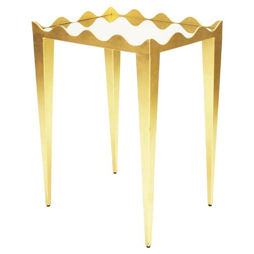 Quimby Hollywood Regency Gold Wave Mirror Top Rectangle Side Table | Kathy Kuo Home
