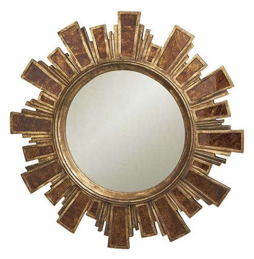 Large Lodge Rustic Southwest Antique Gold Stone Sunburst Mirror | Kathy Kuo Home