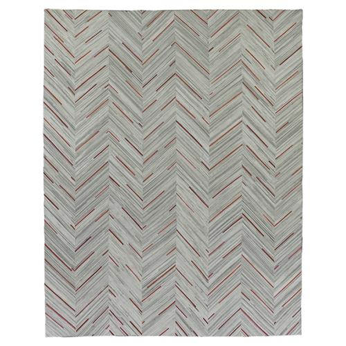 Exquisite Rugs Natural Hide Modern Classic Chevron Pattern Crimson Stripes Rug - 5' x 8' | Kathy Kuo Home