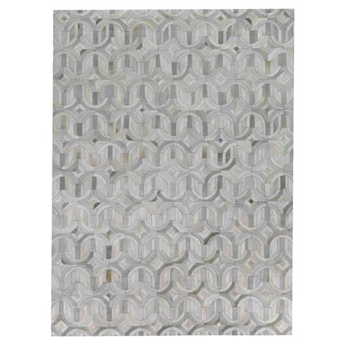 Exquisite Rugs Natural Hide Modern Classic Arch Pattern Beige Grey Rug - 5' x 8' | Kathy Kuo Home