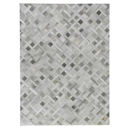 Exquisite Rugs Natural Hide Modern Classic Geometric Pattern Beige Grey Rug - 5' x 8' | Kathy Kuo Home