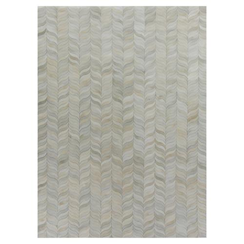 Exquisite Rugs Natural Hide Modern Classic Curved Chevron Pattern Beige Grey Rug - 5' x 8' | Kathy Kuo Home