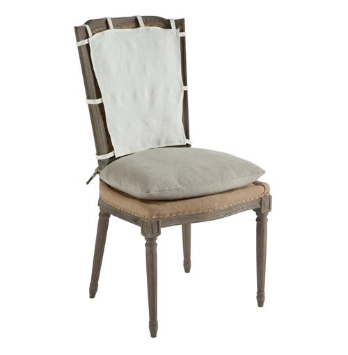 Pair French Country Weathered Gray Dining Chair with Slip Cover | Kathy Kuo Home