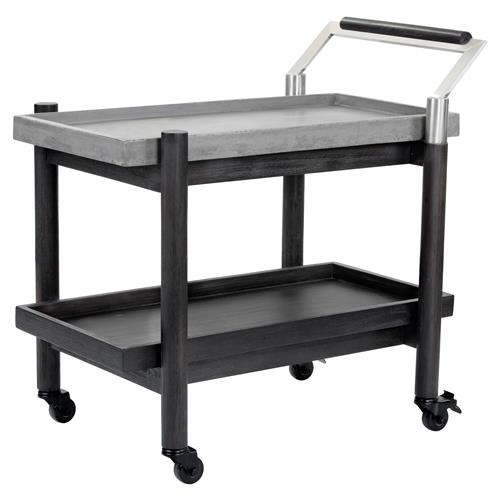 Kalvin Industrial Loft Grey Concrete Black Wood Bar Cart | Kathy Kuo Home