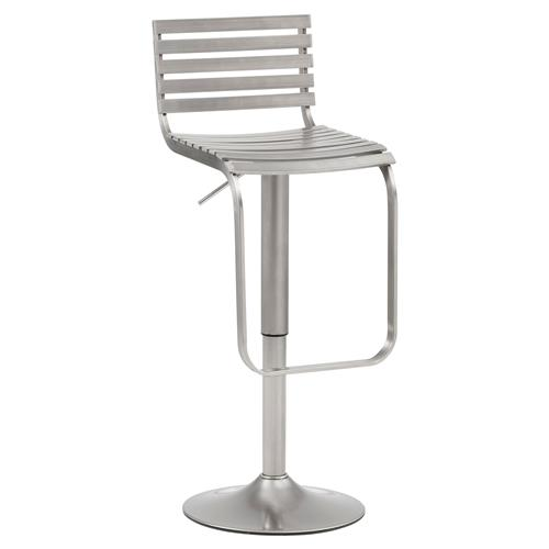 Trager Industrial Loft Silver Stainless Steel Adjustable Bar Stool | Kathy Kuo Home