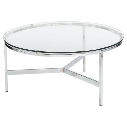 Orna modern classic round silver glass coffee table for Round glass silver coffee table