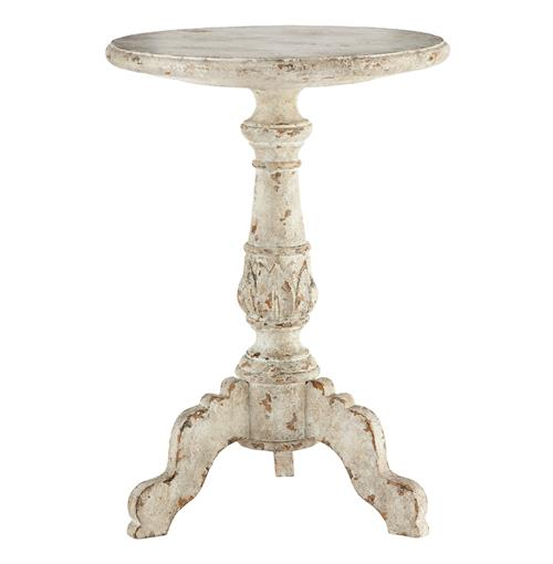 Vintage French Country French White Acanthus Leaf Side Table | Kathy Kuo Home