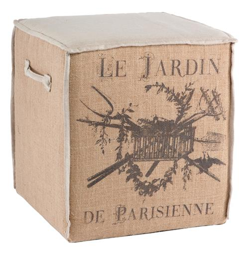French Country Le Jardin Burlap Accent Cube Ottoman | Kathy Kuo Home