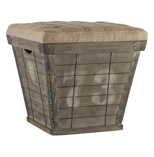 French Country Cube Storage Crate with Burlap Cushion Ottoman | Kathy Kuo Home
