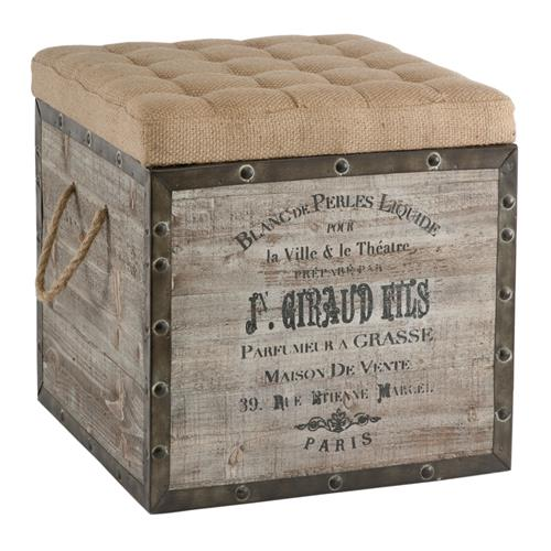 French Country Vintage Crate Burlap Cushion Cube Storage Ottoman | Kathy Kuo Home
