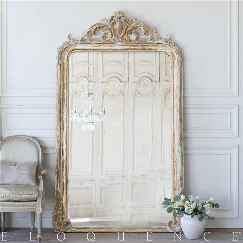 Eloquence French Country Style Antique Floor Mirror: 1890 | Kathy Kuo Home