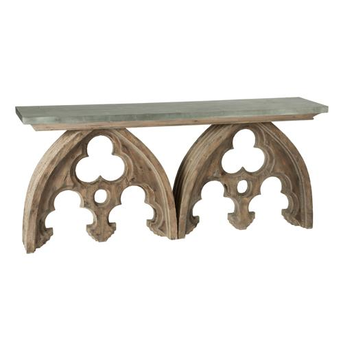 Gothic French Cathedral Arch Aged Wood Console Table Tin Top | Kathy Kuo Home