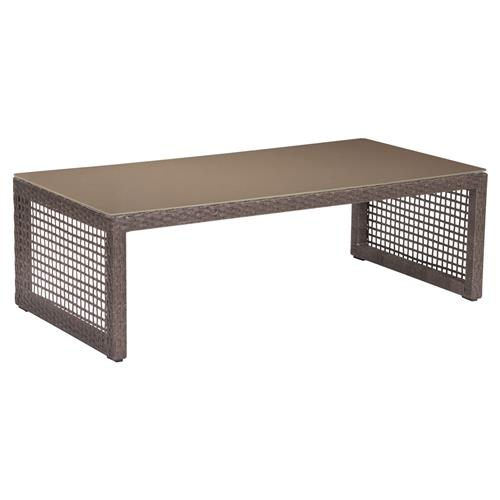 Charleene Modern Classic Tempered Glass Top Outdoor Coffee Table | Kathy Kuo Home