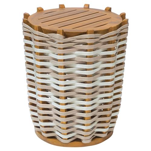 Palecek San Martin Modern Coastal Teak Hand Woven Round Outdoor Side End Table | Kathy Kuo Home