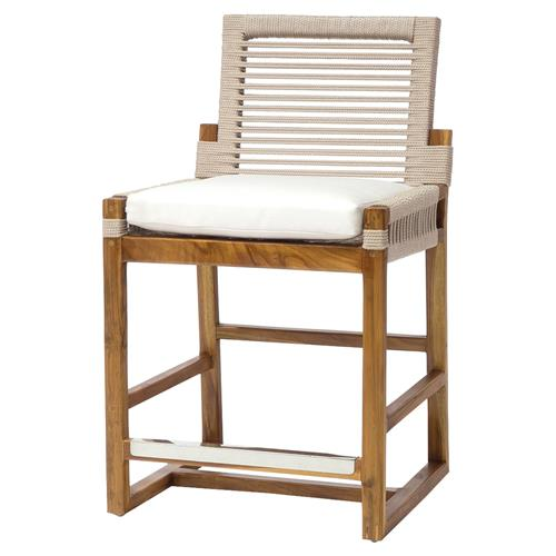 Palecek San Martin Modern Coastal Teak Hand Woven Outdoor Counter Stool | Kathy Kuo Home