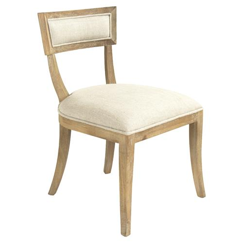 Bavette French Country Cream Linen Limed Oak Side Chair | Kathy Kuo Home