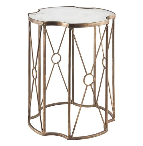 Marlene Hollywood Gold Leaf Antique Mirror End Table - 20.5 inches | Kathy Kuo Home