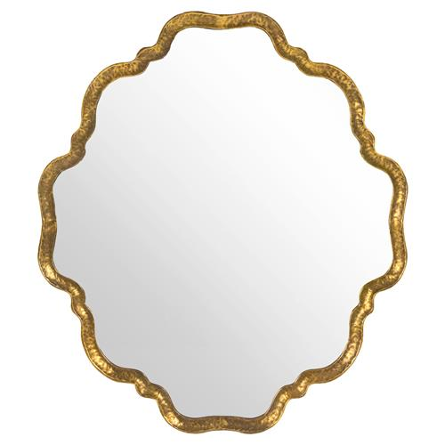 Ellison Hollywood Regency Scalloped Gold Wall Mirror | Kathy Kuo Home