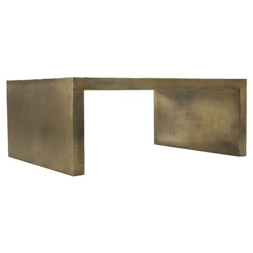 Irvine Industrial Modern Rectangular Brass Gold Iron Coffee Table | Kathy Kuo Home