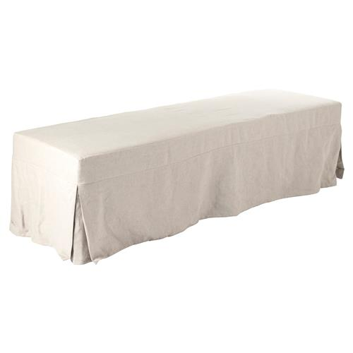 Ondine French Country Beige Linen Slipcovered Bench | Kathy Kuo Home
