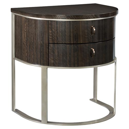 Goode Modern Classic Dark Wood Bronze 2 Drawer Demilune Nightstand | Kathy Kuo Home