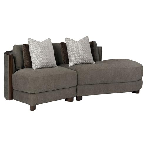 Jaron Modern Classic Slub Knit Curved 2 Piece Sectional - Right Arm Facing | Kathy Kuo Home