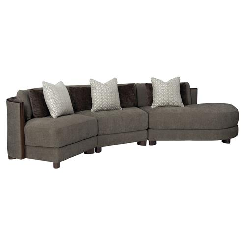 Jaron Modern Classic Slub Knit Curved 3 Piece Sectional - Right Arm Facing | Kathy Kuo Home