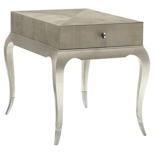 Miranda Modern Clic Silver Leaf Single Drawer Rectangular Side End Table